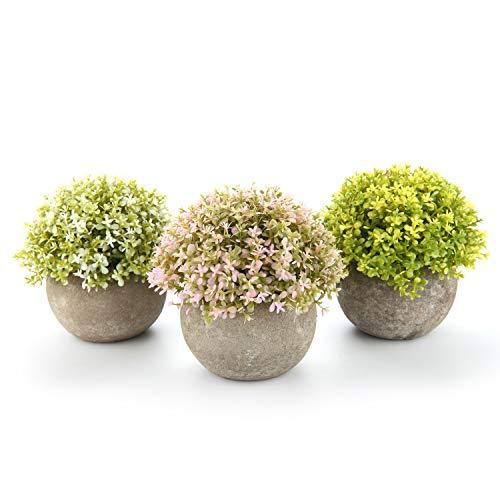 nstliche Blumen Bonsai mit Topf Weiß Gelb Rosa 3er-Set klein, Zuhause Wohnung Büro Dekor Hochzeit Geburtstag Weihnachten Geschenk ()