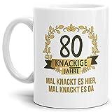 Tassendruck Geburtstags-Tasse Knackige 80' Geburtstags-Geschenk Zum 80. Geburtstag/Geschenkidee/Scherzartikel/Lustig/Witzig/Spaß/Fun/Mug/Cup Qualität - 25 Jahre Erfahrung