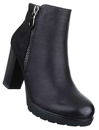 Damen Boots Stiefeletten Schuhe Mit Reißverschluss Schwarz Braun Grau 36 37 38 39 40 41 Schwarz