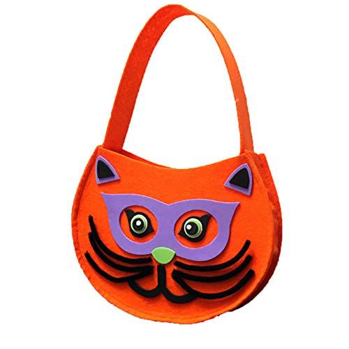 Yililay Kürbis-Art-Taschen mit Katzen-Muster oder traditionelle Halloween Candy Bag Ideal für Kinder (orange) 1PCS
