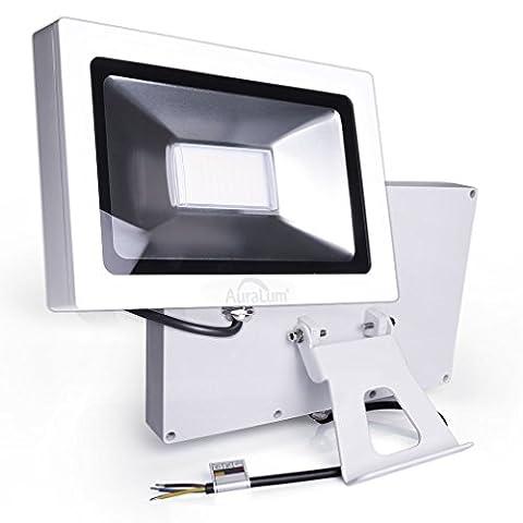 Auralum 50W Projecteur LED Ultraléger Éclairage Extérieur Intérieur Étanche IP65 Spot Lampadaire Floodlight 3700LM-120PCS3020LED-WW-1 AC200-240V Lumière Blanche Chaude 3200K