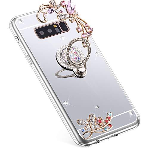 Uposao Kompatibel mit Samsung Galaxy Note 8 Hülle Glitzer Spiegel TPU Schutzhülle Bling Strass Diamant Silikon Hülle Glänzend Kristall Blumen Silikon Handyhülle mit Ring Ständer Halter,Silber
