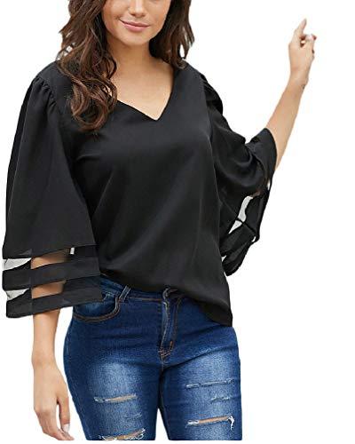 CuteRose Womens V-Neck Loose 3/4 Sleeve T-Shirt Pullover Fashion Blouse Blue 2XL (V-neck-shirt Sleeve 3/4)