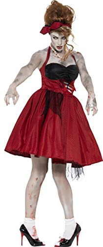 Damen Zombie Apocalypse Fancy Halloween Party Outfit 1950er Rockabilly Kostüm, Rot
