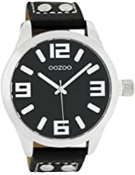Oozoo - XXL Damenuhr mit Lederband - C4409 - Schwarz