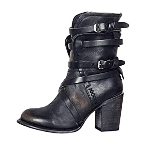 Toasye Damen Retro Style Römer Tube und Römerstiefel Ritterstiefel Leder Stiefeletten warme Winterschuhe Sport Schuhe Stiefel wasserdicht