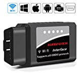 kungfuren OBD2 Diagnosegerät, Auto WiFi Diagnose OBD Stecker Kompatibel mit iOS, Android & Windows-Geräten verbindet Wireless für Autos
