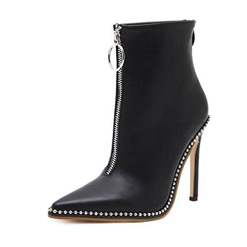 QIN&X Donna Stiletto Tacchi Alti Punta caviglia stivali scarpe Black