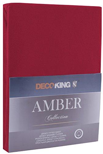 DecoKing 17821 80x200-90x200 cm Spannbettlaken Bordeaux 100% Baumwolle Jersey Boxspringbett Spannbetttuch Bettlaken Betttuch Maroon Amber Collection - 2