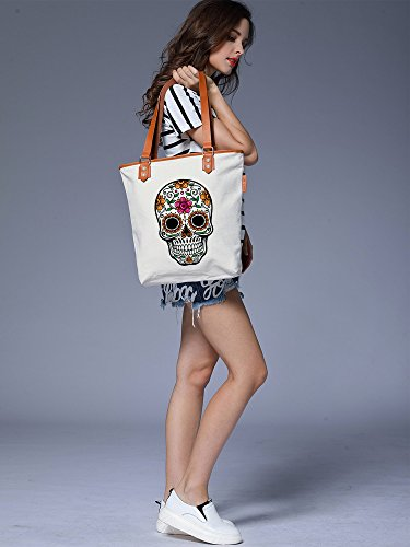 S.CHU Women's Skull Floral Canvas Leather Tote Handbag Ladies Shoulder Bag Beige