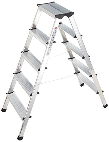 Hailo L90, Alu-Doppelstufenleiter, 2x5 Stufen, 2 Aufstiegsmöglichkeiten, belastbar bis 150 kg, made in Germany, 8655-001
