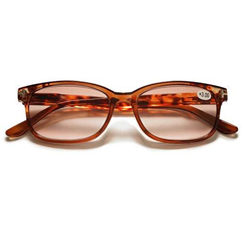 KOOSUFA Lesebrille Outdoor Damen Herren Retro Nerd Brille Lesehilfen Sehhilfe Federscharniere Vollrandbrille Anti Müdigkeit mit Stärke 1.0 1.5 2.0 2.5 3.0 3.5 4.0 (1x Braun, 3.0)