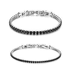 Idea Regalo - JewelryWe Bracciale Coppia Donna Uomo Fidanzati con Zircone Lucido Perline Braccialetto di Tennis Eleganza Moderna Regalo