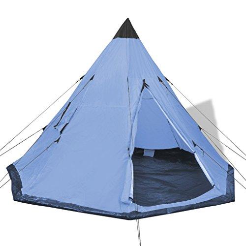 Festnight 4-Personen Zelt Campingzelt Outdoor Tent 365 x 365 x 250 cm für Wandern Camping Hiking - Hellblau
