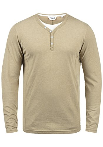 !Solid Doriano Herren Longsleeve Langarmshirt Shirt Mit Grandad-Ausschnitt, Größe:XL, Farbe:Sand Melange (8409)