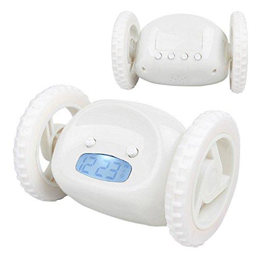 Despertador creativo con las ruedas, las ruedas funcionarán, despertador loco encantador de la pereza loco, manera y personalidad, reloj del fugitivo con las ruedas móviles para los regalos de los cabritos (Blanco)
