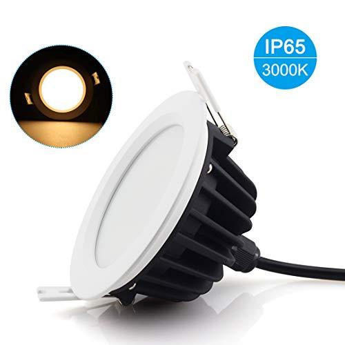 12W Downlight LED,Luminaires Encastrés Plafonnier Lampe à Panneaux - Étanche IP65 pour Salle de bains et Chambre Éclairage Intérieur Extérieur (3000K,AC220V-240V, Pack de 1)