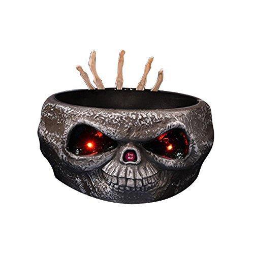 niceEshop(TM) Kreative Halloween Zubehör Geschenke Elektronische Sensor Trick Retractable Ghost Knochen Handharze Zuckerplatte Container Candy Bowl (Halloween Candy Schüssel)
