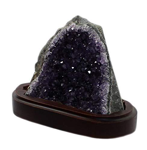 druse amethyst budawi-Mineralien Amethyst Druse Einzelstück, Drusensegment Edelsteine Roh-Stück auf Holz Sockel