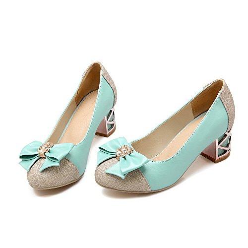 AgooLar Femme Rond à Talon Correct Matière Souple Mosaïque Tire Chaussures Légeres Bleu