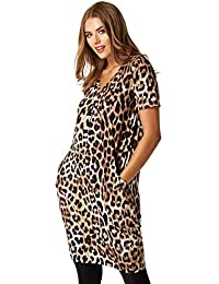 81e5838d3f6 Roman Originals Women Animal Print Dress with Pockets - Ladies Knee Length  Leopard Vneck Stretchy Slouch Oversized Fit Dress for…