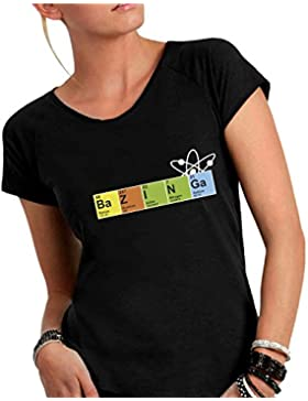 T-shirt DONNA cotone fiammato Scollo ampio a taglio vivo - BAZINGA - CHIMICA divertenti humor MADE IN ITALY
