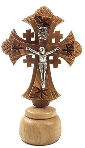 Croix de J?sus Crucifix sculpt? Figure Statue en bois d'Olive de Terre Sainte de J?rusalem