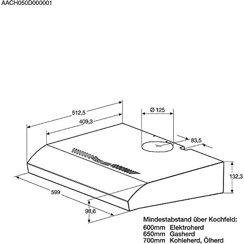 AEG DU4161-M Unterbauhaube / E / Breite: 59.9 cm / edelstahl / Halogenlampe / 3 Leistungsstufen -
