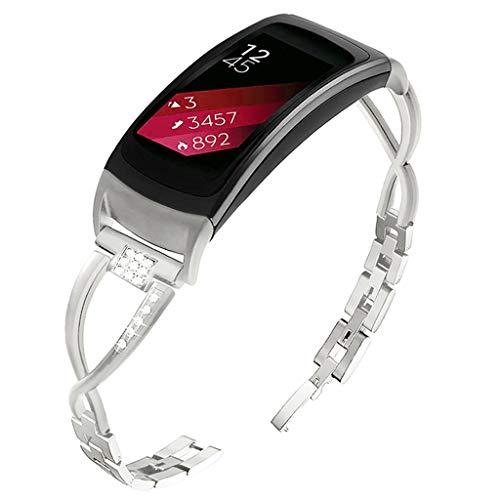 HSKB Uhrenarmband für Samsung Gear Fit 2 / Fit 2Pro Smart Watch, Luxury Edelstahl Metallarmband mit Bling Strasssteinen Uhrenarmband für Sport und Ersatz Armband für Frauen Mädchen (Silber)