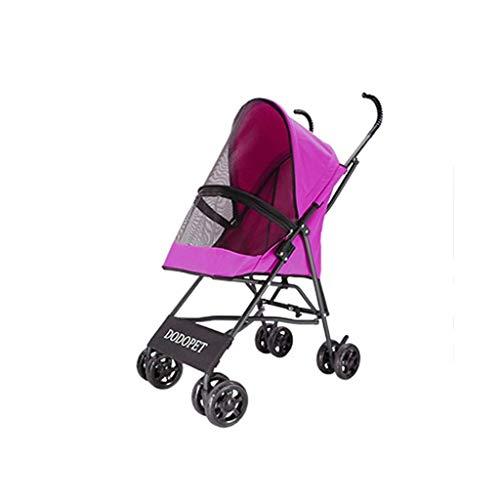 4 Räder Kinderwagen für kleine Hunde Katze Kleintierhalter Leicht zusammenklappbar Flexibel Leicht zu Fuß für Jogger Jogging-Reisen Bis zu 20 Pfund (Color : Pink)