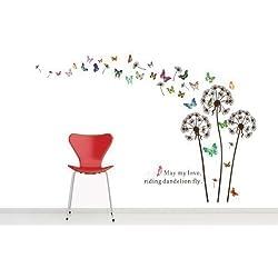 Walplus - Adesivi da parete, motivo: soffioni e farfalle