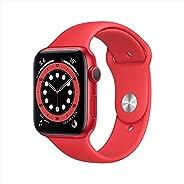 ساعة ابل سيريس 6 (جي بي اس، 44 ملم) - هيكل من الالمنيوم أحمر مع سوار رياضي أحمر