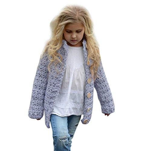 Bekleidung BURFLY Baby MädchenKleidung♥♥ 2--8 Jahre alte feste gestrickte Strickjacke-Strickjacke-Jacke Mädchen-Ausstattungs-Kleidung-Knopf-Mantel-Oberseiten (110CM_4 Jahre alt, Lila) (4-knopf-strickjacke)