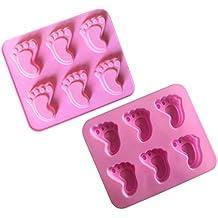 Yaohxu Bebé Pastel Tema Molde — — Silicona pies de bebé, bebé Dormido, Mini
