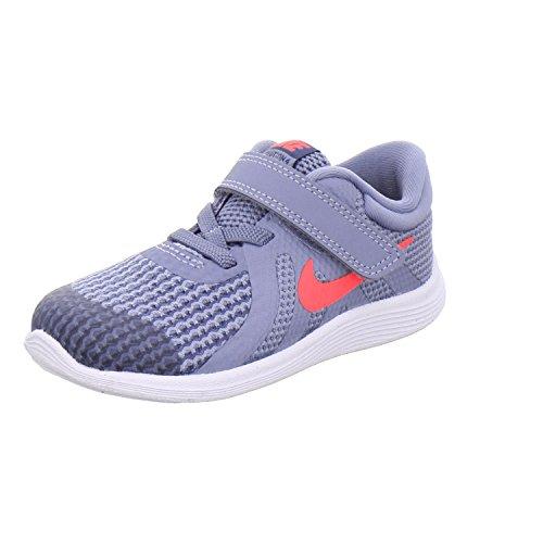 Nike Unisex Baby Kleinstkinder Sneaker Revolution 4 (TDV) Hausschuhe, Mehrfarbig (Ashen Slate/Flash Crimson/Diffused Blue 400), 22 EU