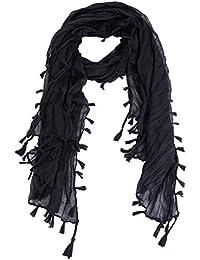 Womens Summer Retro Fashion Tassel Fringed Plain Neck Wrap Shawl Scarf Scarves