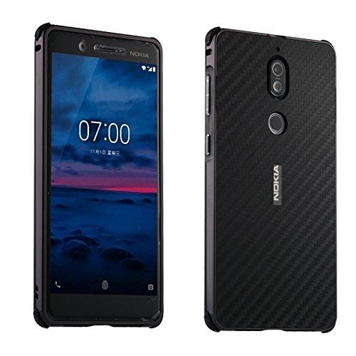 Nokia 7 Carbon Fiber Look Kohlefaser Optik FederLeicht Hülle Bumper Cover Schutz Tasche Schale Hardcase für Nokia 7, Schwarz