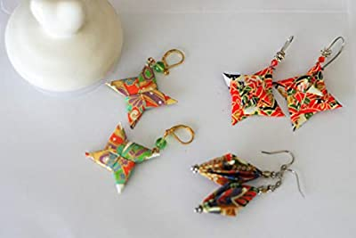 Ensemble de bijoux Origami - Etoile shuriken origami -Etoile spirale - Diamant Origami - Bijoux pour Femmes ou Filles