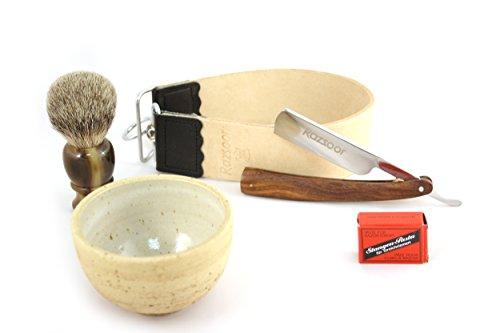 RAZZOOR 5-teiliges Rasiermesser Set Edelholz Palisander - Exklusives Set mit 5/8 Zoll Carbonstahl-Klinge - Streichriemen aus echtem Büffelleder, Streichriemenpaste aus Solingen, Rasierpinsel Silberspitz Dachshaar