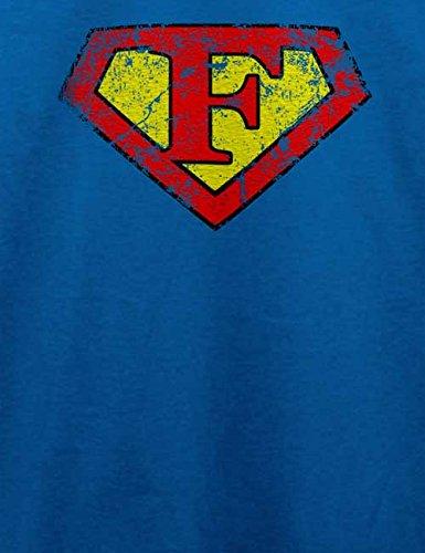 F Buchstabe Logo Vintage T-Shirt Royal Blau