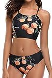 3 horses Damen High Waist Top-Bikini Im Fruity-Style, XL, Schwarz