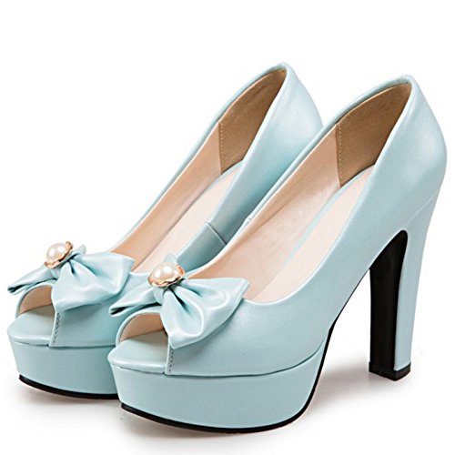 TAOFFEN Femmes Peep Toe Escarpins Mode Bloc Plateforme Talons Hauts A Enfiler Chaussures De Bowknot Bleu