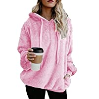 AOLIGEI Ladies Hoodie Jacket, Casual Loose Large Sweatshirts Pullover,Pink,XXXXL