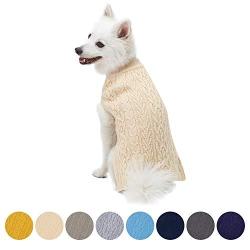 Blueberry Pet Meisterhaftes Klassisches Zopfmuster Beige Creme Hundepulli, Rückenlänge 41cm, Einzelpackung Hundebekleidung
