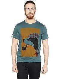 Cult Fiction Vintage Blue Color Round Neck Comfort Fit Cotton T-shirt For Men's
