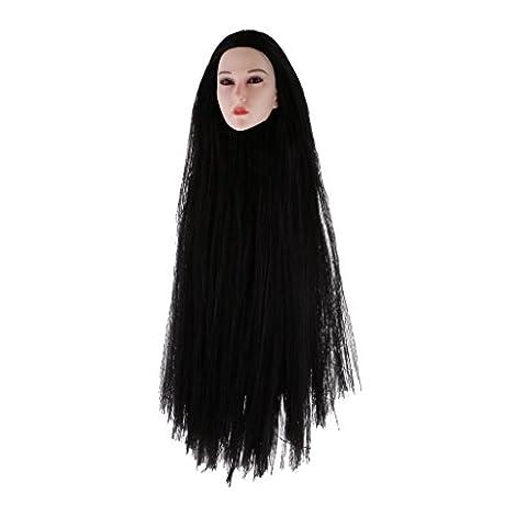 Gazechimp 1 Stück 1/6 Weiblicher Kopf Sculpt, Langes Haar, Bewegliche Augäpfel, Rosa Lip und Thin Wimpern, Sammlung - QH0001