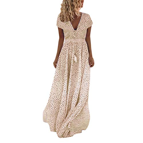 KPILP Frauen Strandkleid Abendkleider Petticoat Sommer Ärmellos Dot Print Quasten Tiefem V-Ausschnitt Long Beach Maxikleid Sommerkleid(B-orange,EU-40/CN-M)