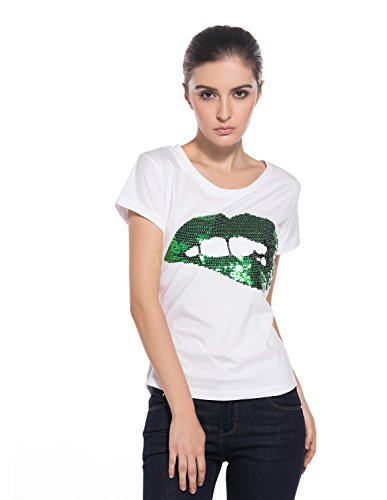 MODETREND Damen T-Shirts Weiß mit Sequined Lippen Kurzarm Pailetten Blusen Tee Oberteil Tops Grüne Lippen