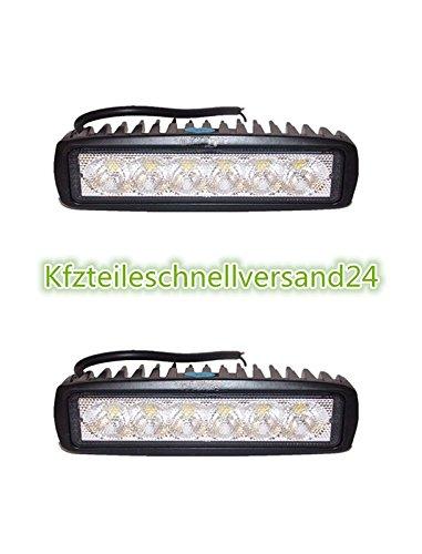 Preisvergleich Produktbild 2 X 18W LED Scheinwerfer Arbeitsscheinwerfer (90-Grad) Arbeitslicht Arbeitsscheinwerfer Fluter LED Offroad Flutlicht Spotlight Reflektor Scheinwerfer12V 24V IP67 Schwarz ATV SUV 4WD