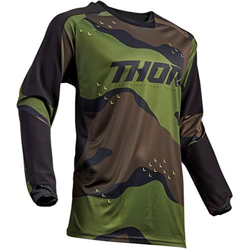 Thor Terrain Motocross Jersey Shirt Tshirt Cross Offroad Enduro Downhill Mx Sx Camo Grün Schwarz Weiß Camo Grün XL